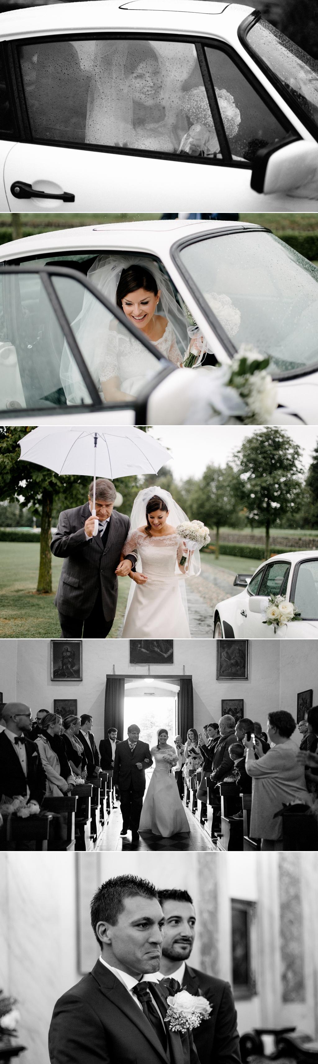 fotografo matrimonio arrivo sposa pioggia